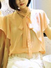 Pink V Neck Short Sleeve Ribbons Chiffon Shirt