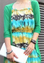 Green Half Sleeve Drape Front Sheer Cardigan