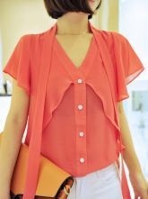 Rose Red V Neck Short Sleeve Ribbons Chiffon Shirt