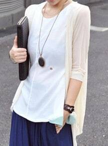 White Half Sleeve Drape Front Sheer Cardigan
