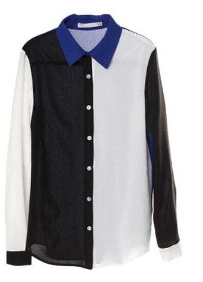 Black White And Blue Contrast Long Sleeve Chiffon Shirt