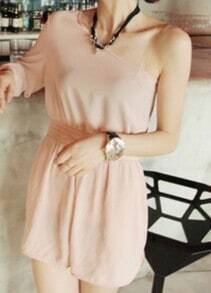 Beige Off One Shoulder Chiffon Jumpsuit