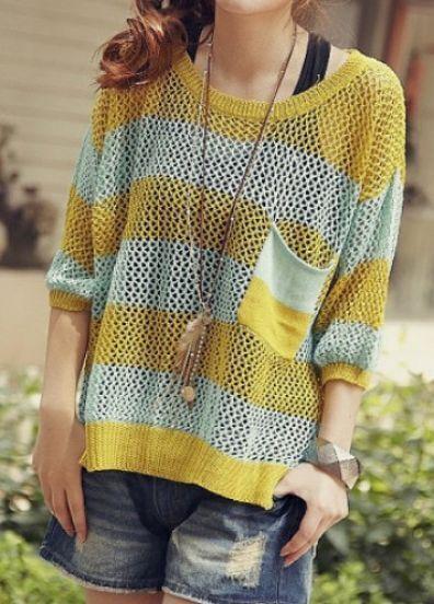 Yellow Street Round Neck Three Quarters Sleeve Cotton Sweater
