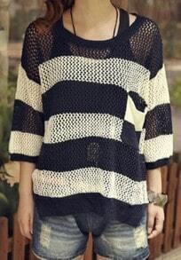 Dark Blue Street Round Neck Three Quarters Sleeve Cotton Sweater