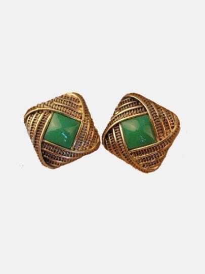 Vintage Green Gem Gold Stud Earrings