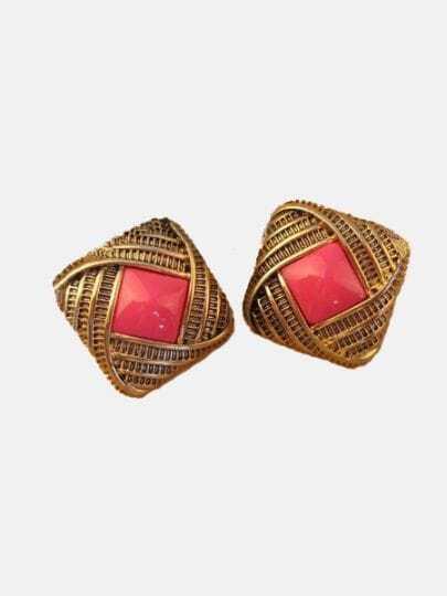 Vintage Pink Gem Gold Stud Earrings