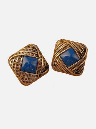Vintage Light Blue Gem Gold Stud Earrings