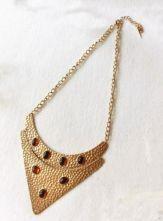 Vintage Gold V Shape With Gemstone Peandant Necklace