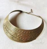 Vintage Gold Metal Collar Pattern Necklace