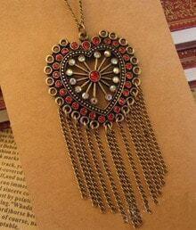 Vintage Heart With Rhinestone Tassel Necklace
