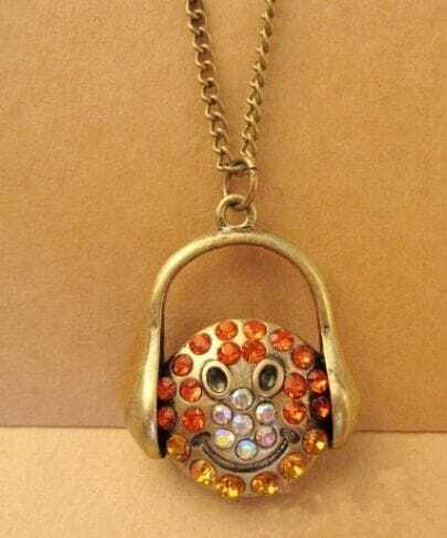 Smiley With Rhinestone Headset Necklace