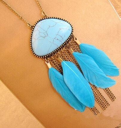 Vintage Tassel Blue Sky Stone Feather Necklace