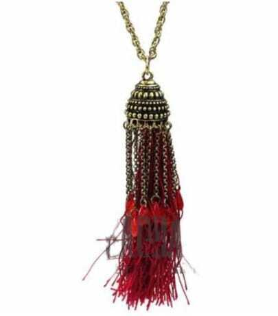 Vintage Tassel With Red Stone Necklace
