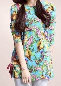 Multi Vintage Round Neck Animal Print Loose Cotton Dress
