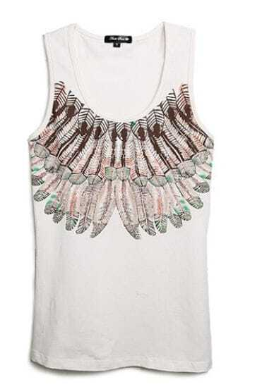 White Sleeveless Feather Print Cotton Tank Top