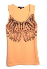 Orange Sleeveless Feather Print Cotton Tank Top