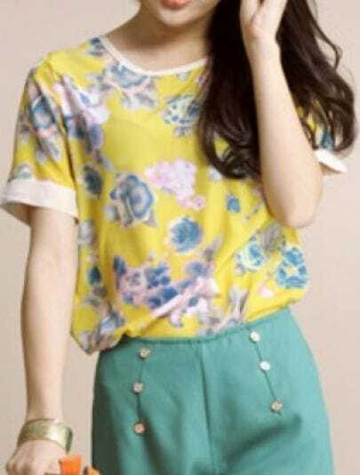 Yellow Vintage Round Neck Short Sleeve Loose Zipper Chiffon T-Shirt