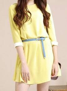 Yellow Solid Street Round Neck Short Sleeve Loose Chiffon A-Line Dress