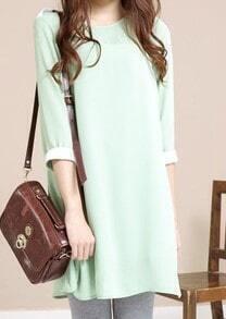 Green Solid Street Round Neck Short Sleeve Loose Chiffon A-Line Dress