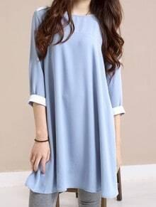 Blue Solid Street Round Neck Short Sleeve Loose Chiffon A-Line Dress