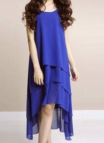 Blue Solid Round Neck Sleeveless Asymmetrical Ruffles Chiffon A-Line Dress