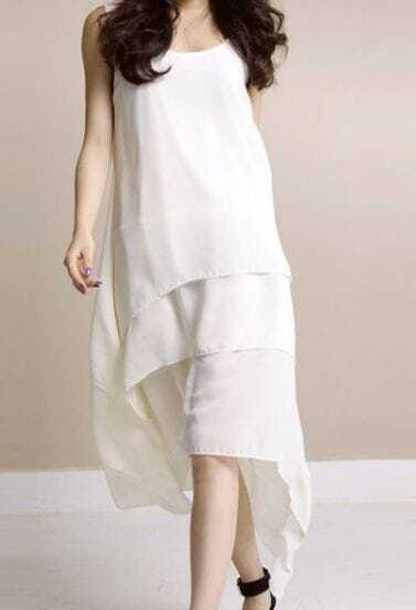 Beige Solid Round Neck Sleeveless Asymmetrical Ruffles Chiffon A-Line Dress