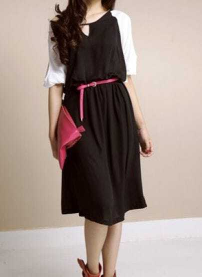 Black Solid Round Neck Half Sleeve Color Block Off the Shoulder Chiffon Dress