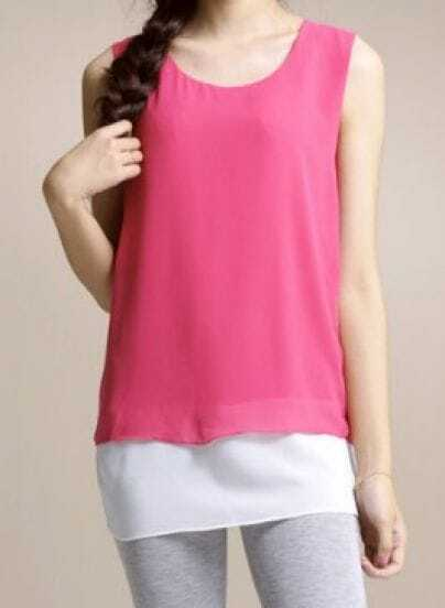 Rose Red Solid Round Neck Sleeveless Color Block Backless Chiffon Dress