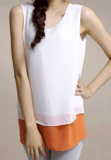 White Solid Round Neck Sleeveless Color Block Backless Chiffon Dress