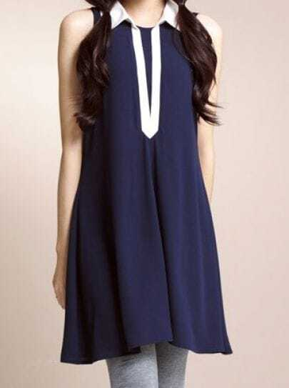 Navy Solid Vintage Lapel Sleeveless Loose A-Line Dress