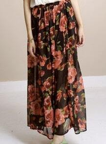 Black Vintage Print Chiffon Full-Length Skirt