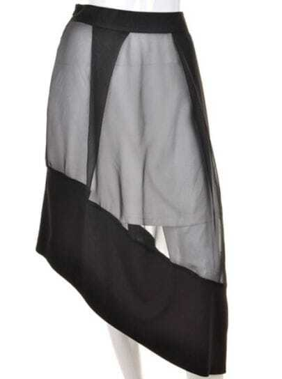 Black Solid Street Asymmetrical High Waist Knee-Length Skirt