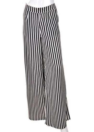 Black High Waist Broken Stripe Polyester Pants