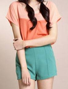 Pink Orange Chiffon Short Sleeve Pocket Blouse
