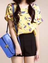 Yellow Bird Print Chiffon Short Turn Up Sleeve Blouse
