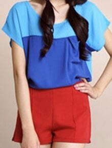 Royal Blue Scoop Neck Short Sleeve Pocket Blouse