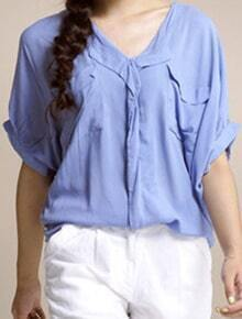 Light Blue V Neck And Concealed Placket Short Sleeve Blouse