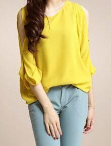 Yellow Split Long Sleeve Chiffon Asymmetric Blouse