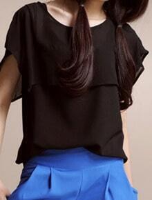Black Short Sleeve Chiffon Sheer Cape Split Back Blouse