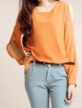 Orange Split Long Sleeve Chiffon Asymmetric Blouse