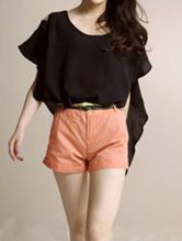 Black Ruffle Sleeve Asymmetric Chiffon Blouse