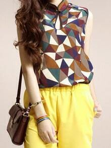 Geometric Print Sleeveless Mandarin Collar Chiffon Blouse