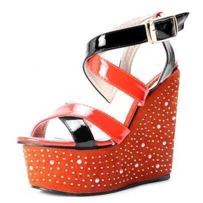 Orange Patent Leather Rhinestone Heel Wedge