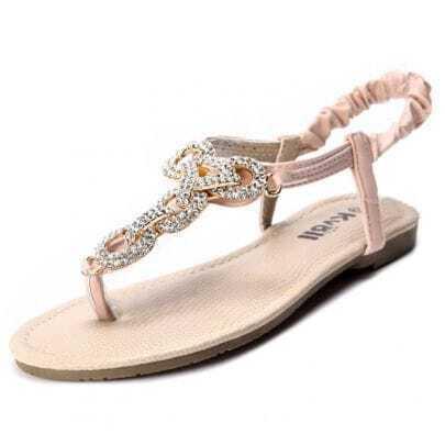 Pink PU Toe Post Rhinestone Sandal