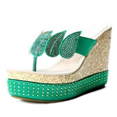 Green Satin Rhinestone Leaf Wedge