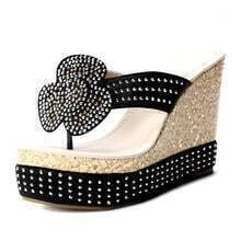 Black Satin Flower Rhinestone Wedge
