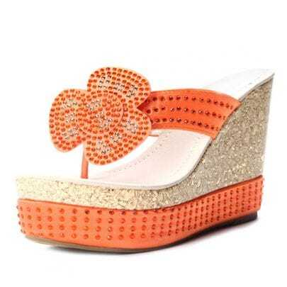 Orange Satin Flower Rhinestone Wedge