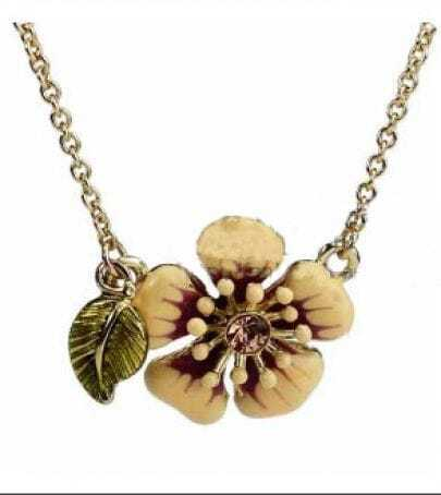 Yellow Flower Green leaf Necklace