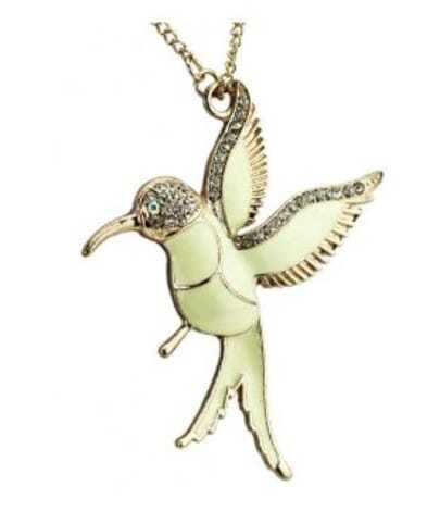 Gold Bird With Rhinestone Necklace