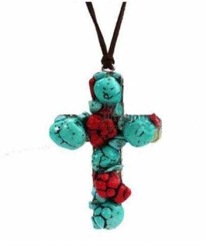 Turquoise Red Crystal Cross Penadnt Necklace